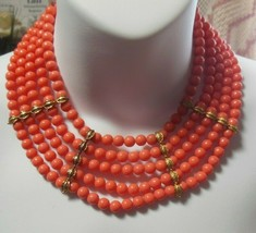 Vintage Multiple Row Peach Bead Cluster Runway Collar Necklace - $34.65