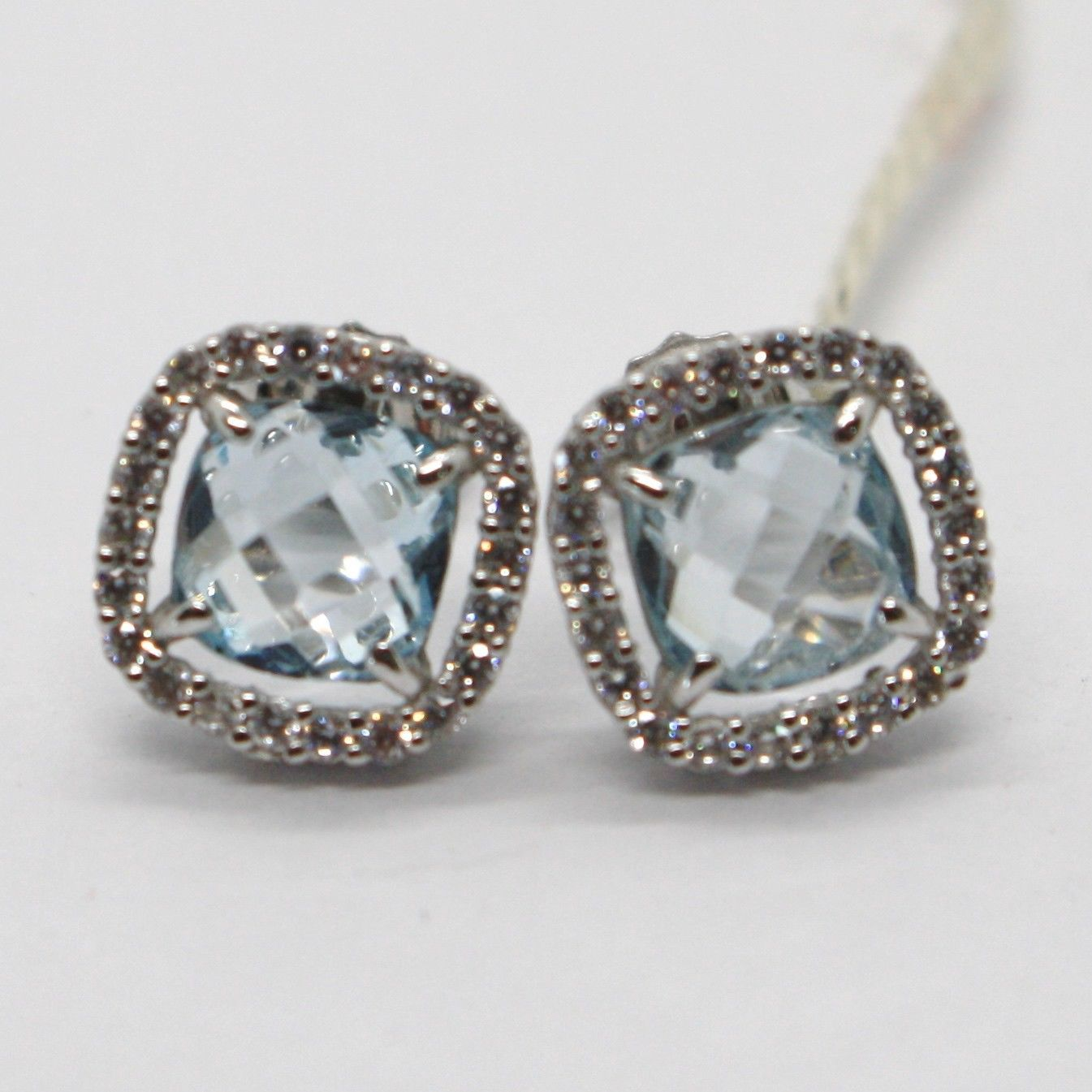 18K WHITE GOLD EARRINGS CUSHION SQUARE BLUE TOPAZ, ZIRCONIA FRAME, MADE IN ITALY