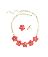 Mixit Women's Orange Enamel Necklace & Earring Set 18 Inch NEW Gold Tone - $19.79
