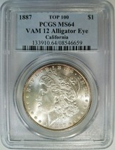 1887 Silver Morgan Dollar PCGS MS 64 Vam 12 Alligator Eye California Ton... - $214.99