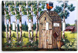 Country Rustic Outhouse Farm French Rooster 4 Gang Light Switch Wall Plate Decor - $17.99