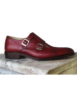 Handmade Men's Burgundy Double Monk Dress Shoes Leather Monk Formal Dres... - $169.97+