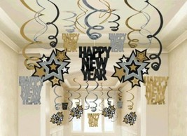 Happy New Year 30 Ct Hanging Swirls Decorations Asst Black Silver Gold - £11.83 GBP