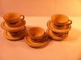 Pfaltzgraff VILLAGE--5 Cups / SAUCERS--BROWN On Cream / BEIGE--SHIPS FREE--NICE - $38.65