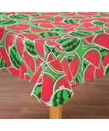 "FLANNEL BACK TABLE COVER 60""x120"" (10-12 ppl) WATERMELONS by Home-Style ... - $12.86"