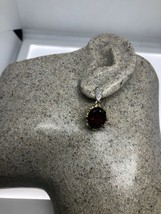VINTAGE GARNET EARRINGS GOLDEN 925 STERLING SILVER - $130.68