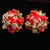 Unsigned Haskell earrings - Red Clip screw on earrings - sparkling rhine... - $126.32 CAD