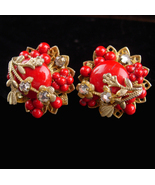 Unsigned Haskell earrings - Red Clip screw on earrings - sparkling rhine... - $95.00