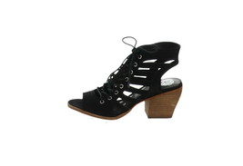 Vince Camuto Nubuck Lace-Up Heeled Sandals-Chesten Black 9.5W NEW A347375 - $103.93
