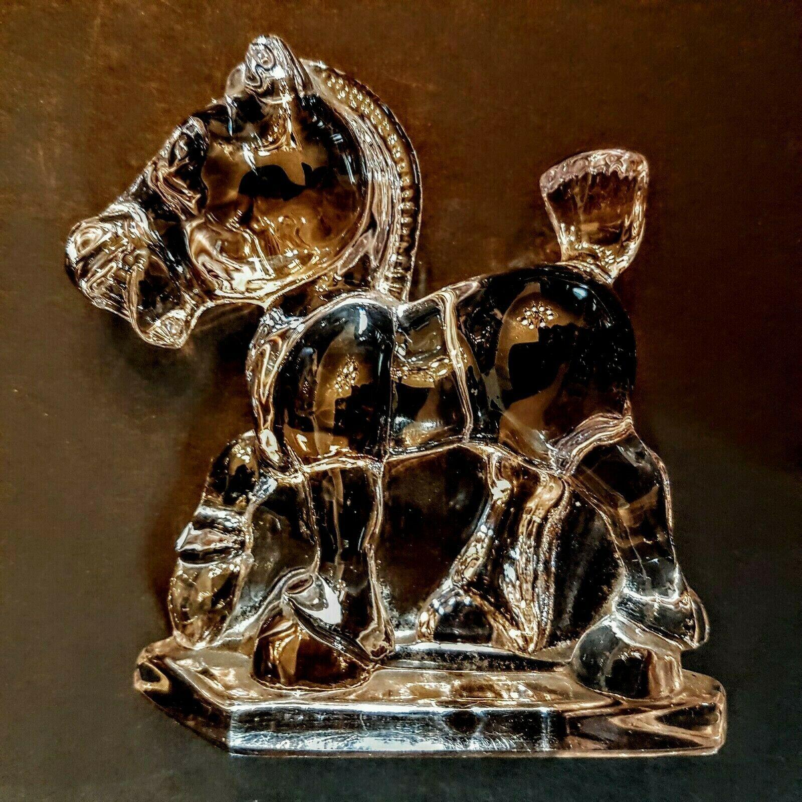 Heisey Glass Horse Oscar Sparky Plug 1540 Clear book piece 1942-46 Figurine - $57.42