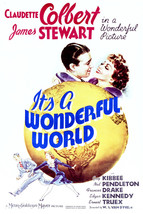 James Stewart and Claudette Colbert in It's a Wonderful World 16x20 Canvas - $69.99