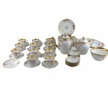 Antique 19th Century Haviland France White Gold Porcelain Tea Set Service - $513.25