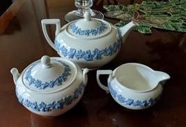 Wedgwood Queensware Lavender Blue on White Cream Teapot Creamer Sugar Te... - $128.69