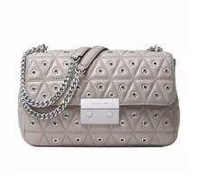 MICHAEL KORS Sloan Shoulder Bag Grommeted Large Leather $358 NWT Gray - $166.32