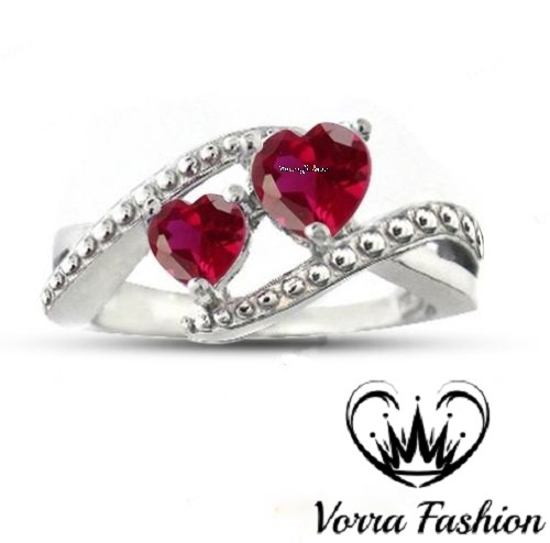Bypass Engagement Ring Heart Shape Pink Sapphire White Gold Over 925 Pure Silver for sale  USA