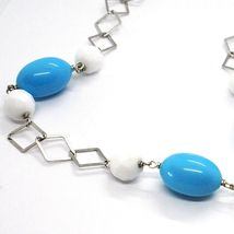 SILVER 925 NECKLACE, SPHERES AGATE WHITE FACETED, TURQUOISE OVAL, PENDANT image 5