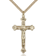 Traditional 1 7/8 Inch 14kt Gold Filled Crucifix Cross Necklace Pendant - $199.99