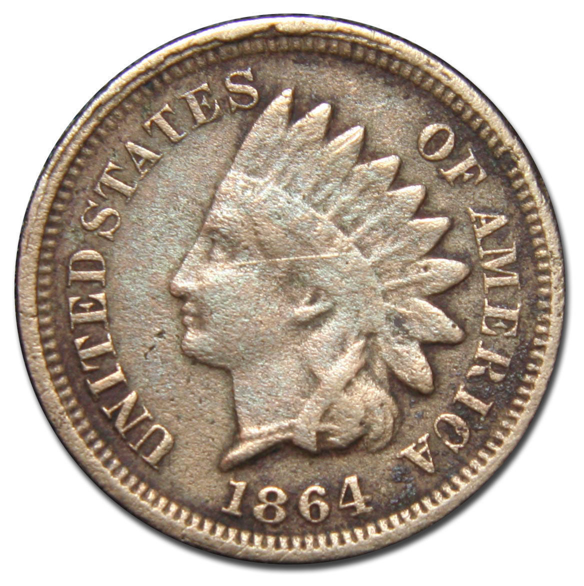 1864 Copper Nickel Indian Head Penny / Cent Coin Lot# MZ 2760