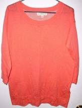 IF IT WERE ME Mesh Back Shirt M Women Coral Stretch Top 3/4 Sleeves  - $13.85