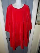 HANNA ANDERSSON Red Long Sleeve Velvet Dress Size 110 Girl's EUC - $22.62