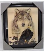 "Bald Eagle and Wolf Resin Wall Art 11.5"" x 10"" Inspirational 2 Corinthia... - $29.99"