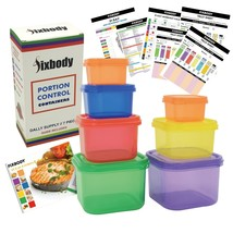 Portion Control Containers 7 Piece Kit Beachbody Plastic Guide Food Stor... - $9.48