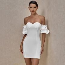 Off Shoulder White Bandage Dress Summer New Arrival image 3