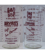 Advertising Measuring Glass Bryan's Cleaners & Dyers 6-4335 - $15.00