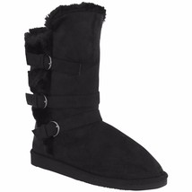 Shoe Vibe Women's Rylee Mid-Calf Boot Buckle Accent Faux Fur Lining Blac... - $45.48