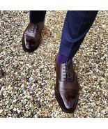 Handmade Men dark brown Cap toe Oxford Shoes, Men brown leather formal s... - $164.99