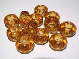 6(Six) 8 x 14 mm Large Hole Rondelle Beads: Topaz - $2.17