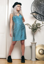 50s vintage turquoise silk dress - $75.40
