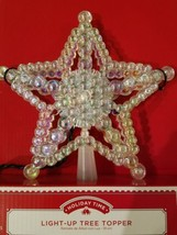 Crystal Beaded 5 Point Star 4-Color Lighted Christmas Tree Topper NEW B6 - $16.44