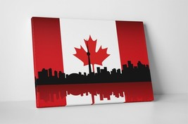 "Vintage Flag of Canada Over Toronto Skyline Gallery Wrapped Canvas 20""x30"" - $53.41"