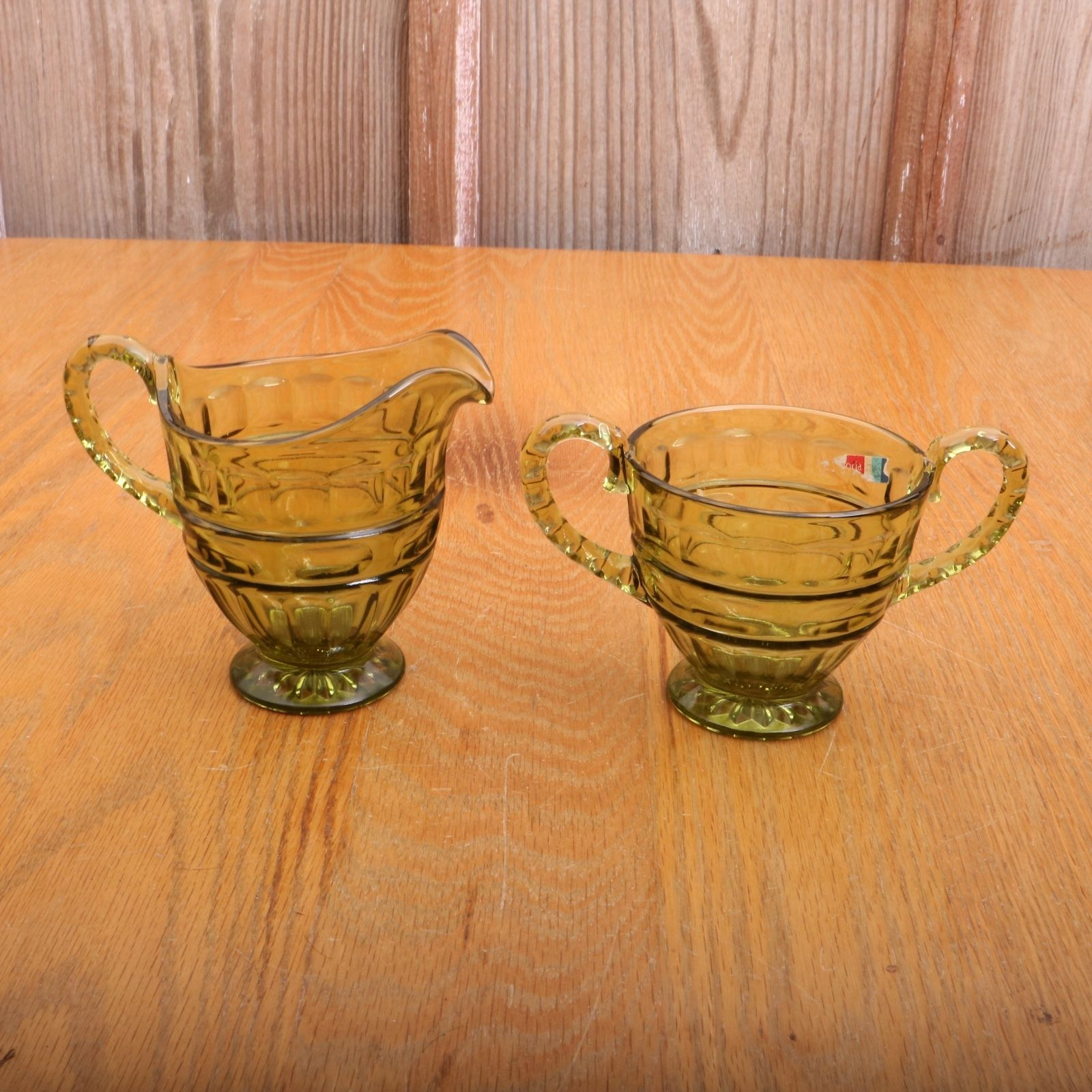 Fostoria Glass Green Creamer and Sugar