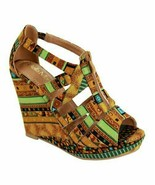 Bella Marie, Tan Geometric Troya Wedge Sandal, Sz 7 - $19.80