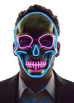 Neon Nightlife Light Up Skull Mask, Scary Skeleton Death Mask, Halloween... - £37.91 GBP