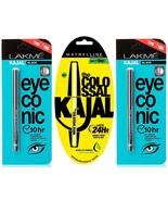 2 pic Lakme Eyeconic Kajal & 1pic Maybelline New York Colossal Kajal combo - $18.80