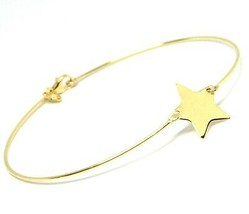 18K YELLOW GOLD BANGLE MINI BRACELET, SEMI RIGID, FLAT STAR, MADE IN ITALY - $151.20
