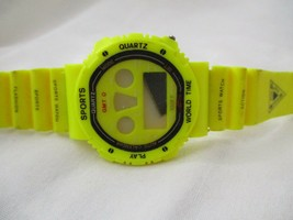 Sports World Time Digital Watch Neon Yellow Buckle Band UNTESTED - $29.00