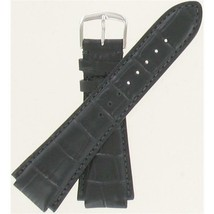 Hamilton 19mm Black Crocodile Grain Silver Tone Buckle Watch Band H60027... - $70.00