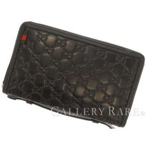 GUCCI Long Wallet Leather Black Guccissima Travel Case 269883 Italy Auth... - $513.25