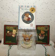 VINTAGE TEABEARIES HAPPY BIRTHDAY BEAR & 3 BEARWEAR BROOCHES COLLECTION~... - $24.70
