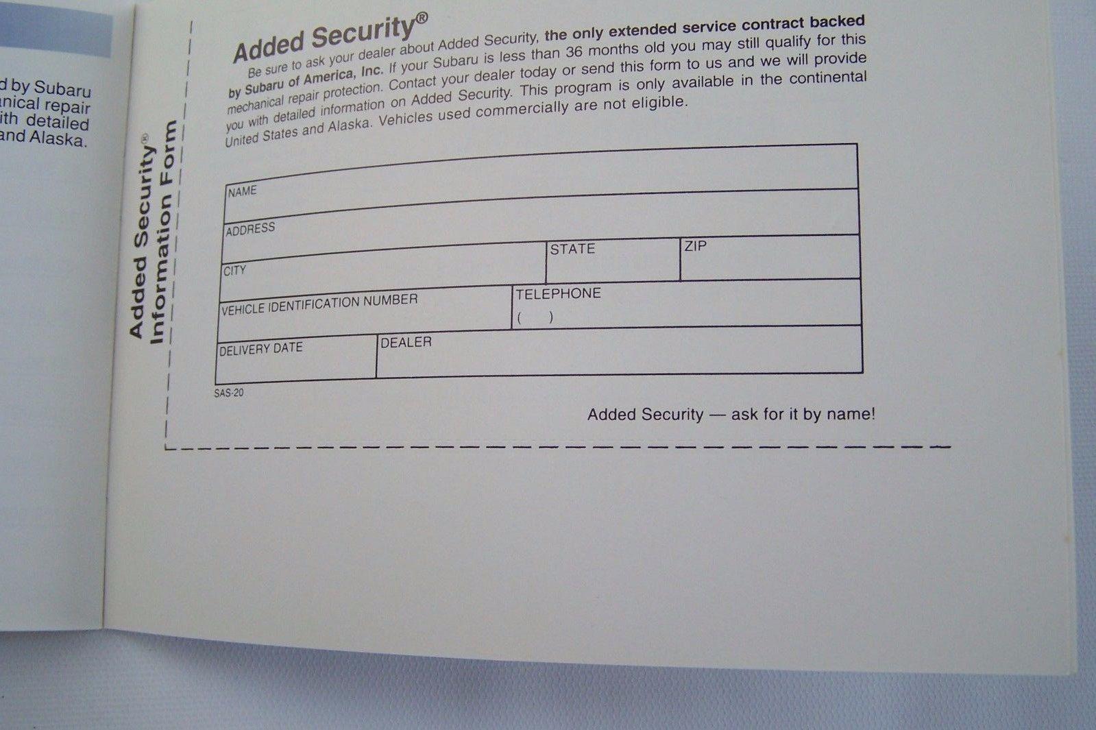 2002 subaru forester legacy impreza wrx owners maintenance schedule warranty