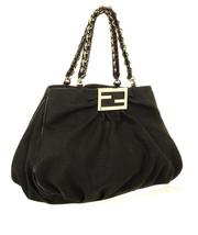 Authentic Fendi Black  corda canvas Grande Mia Shoulder Bag was 1295$ - $495.00