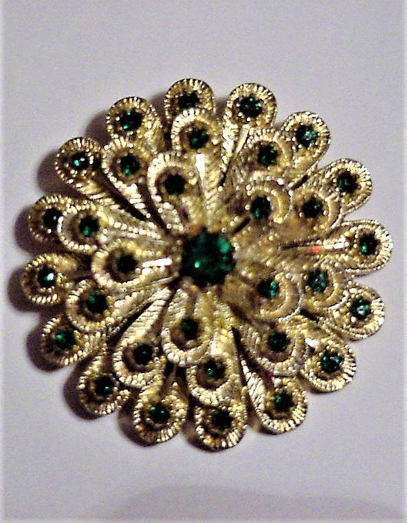 Primary image for Vintage 3-D Round Brooch Pin w/ Green Rhinestones on 3 Tiers