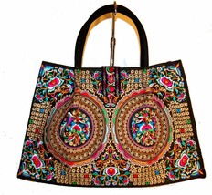 Okpia Black Flower Fancywork Women's Canvas Tote Hand Bag  - $144.53
