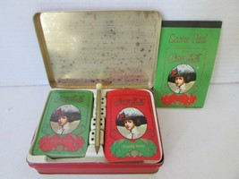 J.S.N.Y. COCA COLA DECKS PLAYING CARDS COLLECTIBLE TIN W/PAD PENCIL HONG... - $7.79