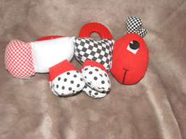 KIDS II BLACK WHITE RED GRASSHOPPER BUG INSECT CATERPILLAR WORM RATTLE T... - $39.59