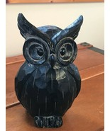 Large Carved Black Painted Wood Wooden Wise Old Owl Figurine – 8 inches ... - $16.69